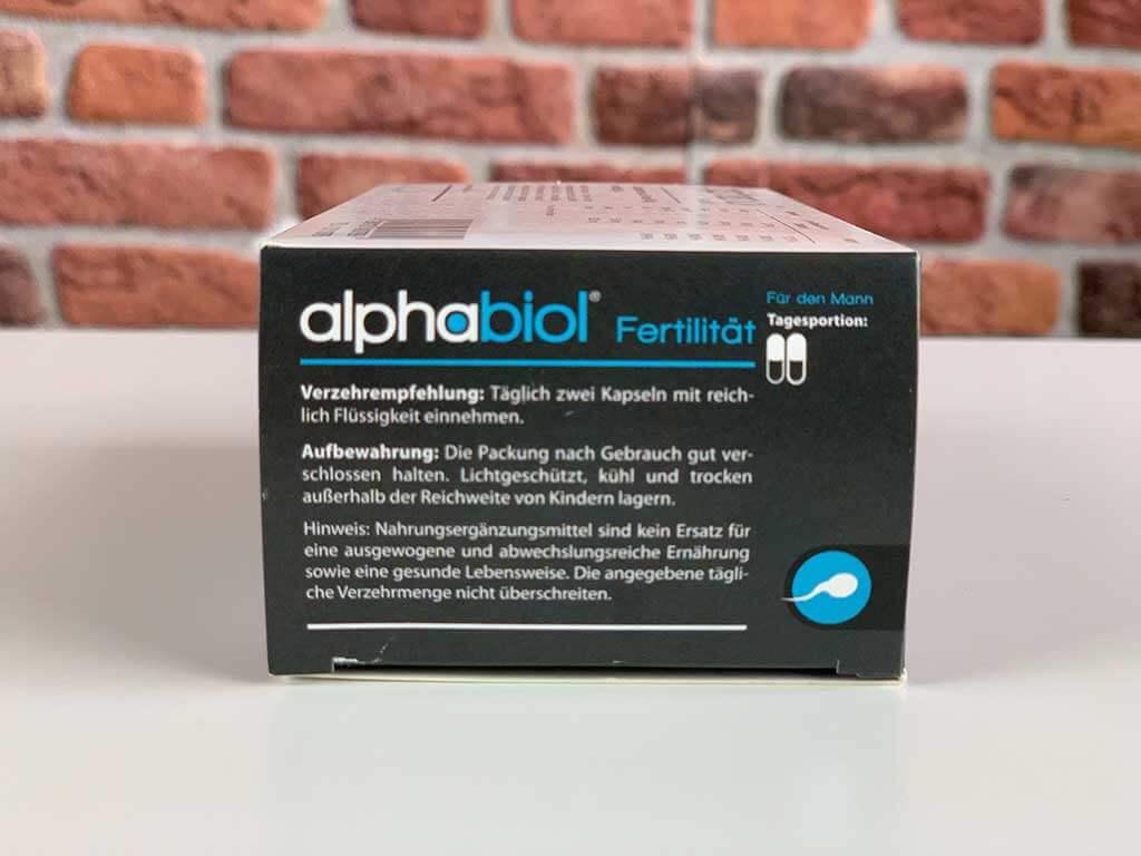 Originalverpackung Potenzmittel Alphabiol Seite mit Angaben Verzehrempfehlung und Aufbewahrung