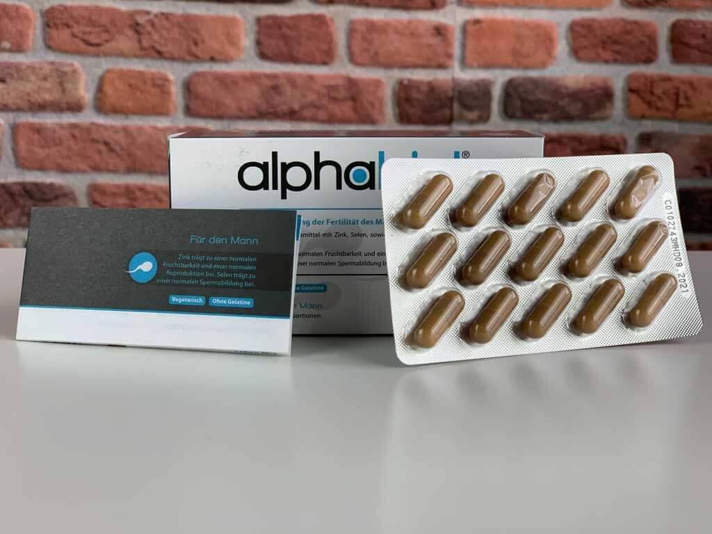 Originalverpackung Potenzmittel Alphabiol mit Packungsbeilage und Blister