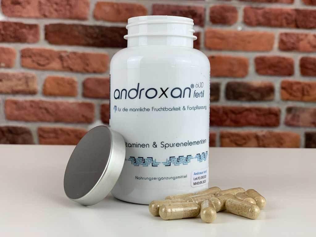 Originalverpackung Potenzmittel Androxan geöffnet mit Kapseln