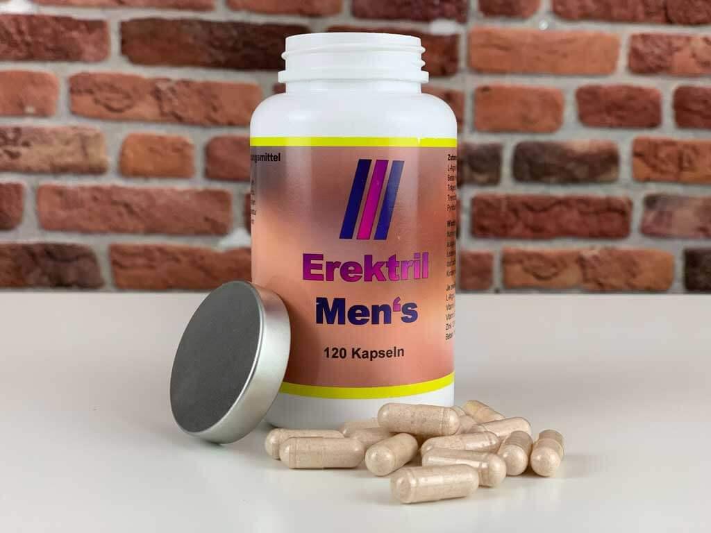 Originalverpackung Potenzmittel Erektril Men's geöffnet mit Kapseln